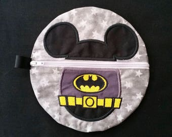 Appliqued Embroidered Batman Mickey Zipper Bag, Baby, pouch, carry all, Phone, Cosmetic, Travel Bag, Pencil Case, School Supplies, purse