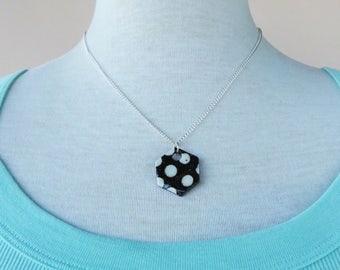 Ceramic polka-dot hexagon pendant necklace