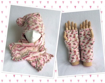 Coconut Ice Slouchie Bobble Hat, Scarf & Gloves Set