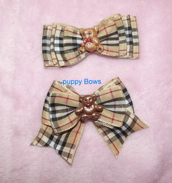 Puppy Bows ~ Pawberry Burberry inspired dog bow  pet hair clip barrette or latex bands   (fb45)