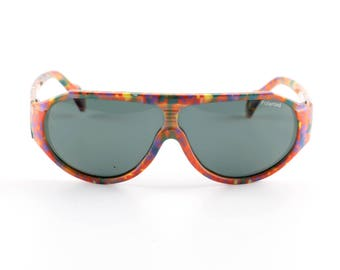 Vintage Polaroid sunglasses original nerd glasses old school print colorful pilot neon clashing