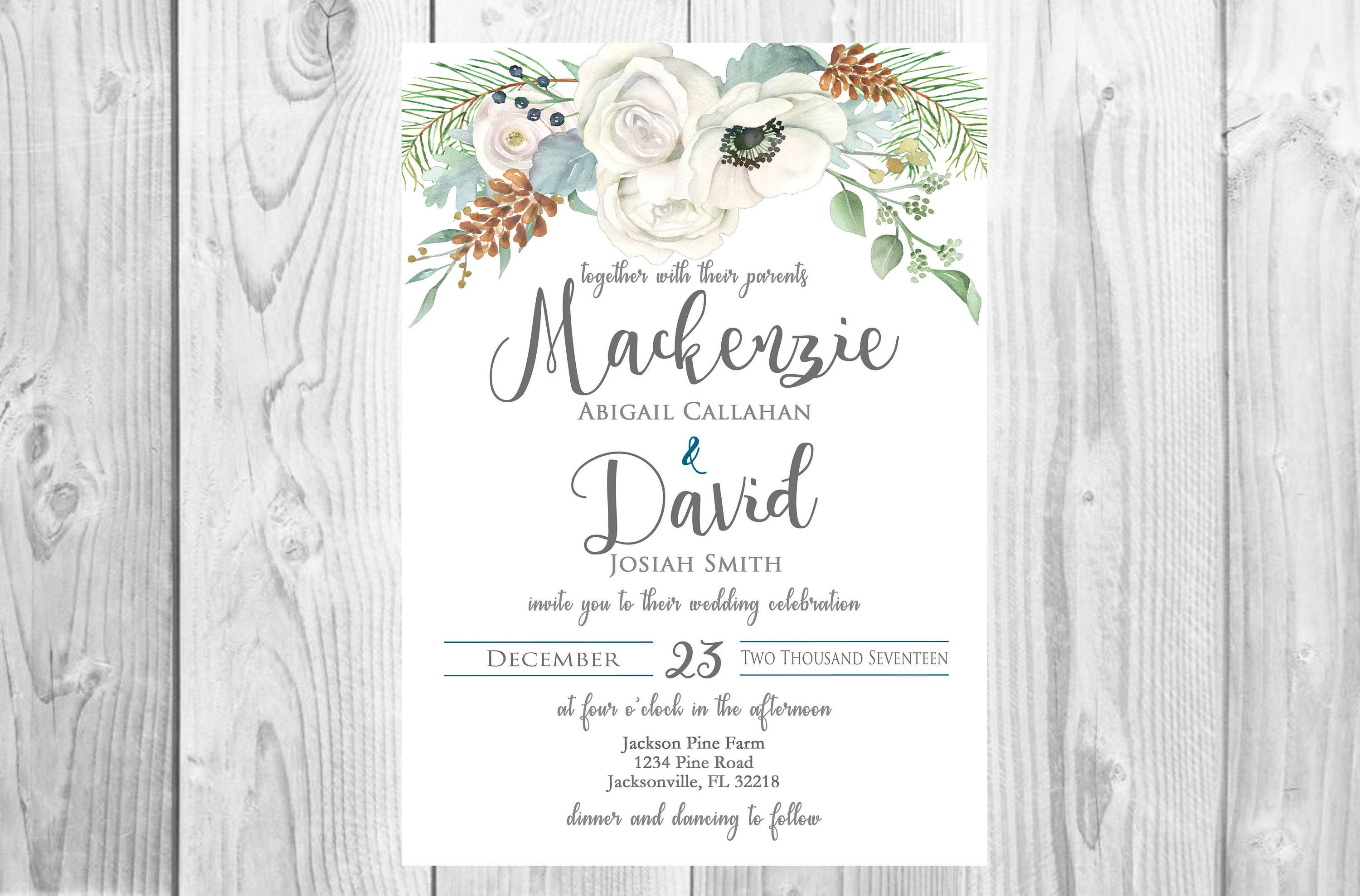Floral Watercolor Wedding Invitation Printable Template Set with ...
