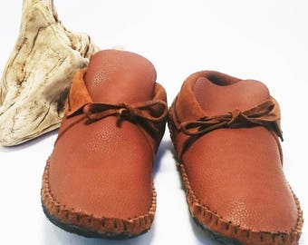 Men's leather Moccasins Inca style low cut moccasin gift for him larp shoes hippie shoes leather shoes leather moccassins