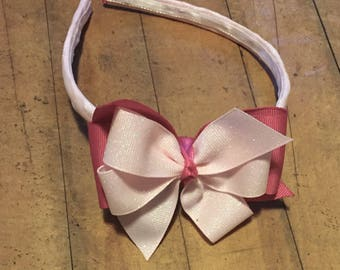 Pink 2-Toned Headband with Bow