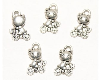 Set of 5 charms cat on bike