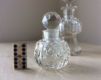 Edwardian Globular Cut Glass Scent Bottle