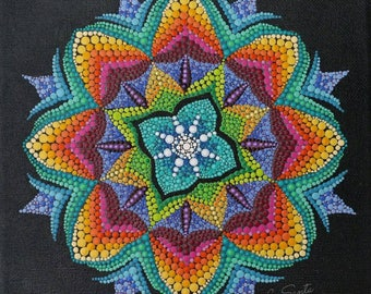 Blazing snowflake, Mandala, Acrylic painting, Dot painting, Dot art, Dotillism