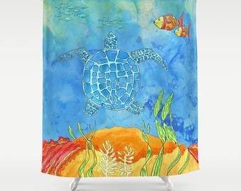 Blue Sea Turtle Shower Curtain - Secret Turtle -  undersea, ocean, coral reef, fish, bright, colorful, kid's coastal bathroom decor