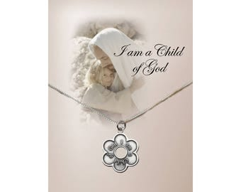 "Sterling Silver ""I am a Child of God"" Daisy Charm Necklace a Special Gift with a Gift Box  (COGN-Daisy)"