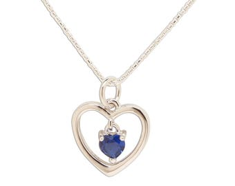 "Sterling Silver ""Dancing Heart"" Birthstone Necklace with CZ Heart Charm for Girls or Women"