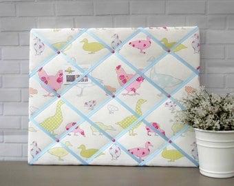 Pastel chickens and ducks print fabric memo board | noticeboard | bulletin board | 40 x 50cm