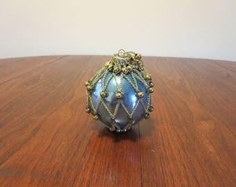 "Vintage 1940s 1950s Shiny Brite glass Christmas tree ornament decoration blue gold braid beads 3 1/4"" diameter (11417)"
