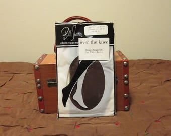 Vintage 1960s NOS seamless brown over the knee stockings hosiery nylons Belle Sharmeer size 10 11 unused unworn original package (12317)