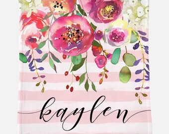 Monogrammed Blanket | Blush Pink Floral | Personalized Blanket | Monogrammed Gift