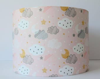 Cloud Lampshade, Baby Pink Lampshade, Pink and Grey Nursery decor, Moon and Stars, Pink and Gold Nursery Decor, Baby Girl Gift, Table Lamp