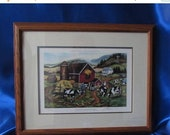 SALE Painting Wisconsin Farm, From the memories of many, Vintage Painting, Signed by Artist, number 99 of 550