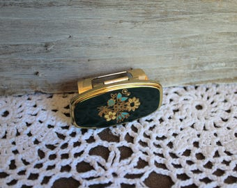 Vintage. Lipstick holder. Gold/green/floral. Mirror/lipstick/holder. 1950s/1960s. Beautiful! Great for your purse!