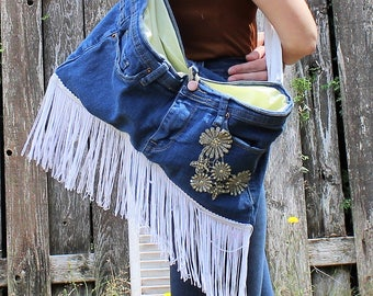 Handmade. Denim/jeans/fringe/handbag/shoulder bag/purse. Boho/hipppie/country girl.