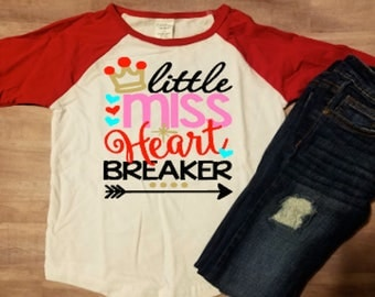 Little Miss Heartbreaker toddler girls Valentine Shirt Raglan Shirt