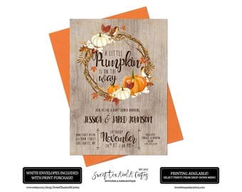 Fall Pumpkin Baby Shower Invitation Autumn Printable Digital File or Prints with Free Shipping Leaves Girl or Boy Baby Shower