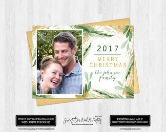 Christmas Photo Greeting Card Gold Foil Pine and Holly Greenery Holiday Family Cards Digital File or Printed Cards