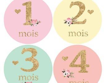 Autocollants FRANÇAIS pour la croissance de bébé, Stickers filles, fleurs, brillant, cadeau de shower, nouveau-né, rose or brillant F137