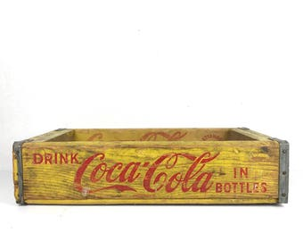 Vintage Wood Crate Yellow Coca Cola Crate Vintage 1960s Yellow Coca Cola Crate Wood Soda Pop Crate