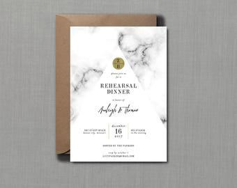 Modern Marble Rehearsal Dinner Invitation // PRINTED SET of 10 Cards + Envelopes // Modern Wedding