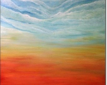 Original Acrylic Painting Large Print Abstract Landscape Canvas Giclee Wall Art Clouds Sky CONTEMPORARY ART PRINT Home Decor Gifts On Canvas