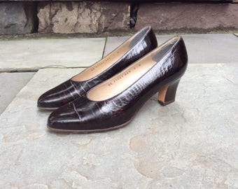 Ferragamo Gator Shoes Embossed Brown Leather Stacked Heel Sz 7 croc block