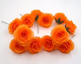 14 Pcs Orange Silk Flower Heads,Orange Silk Rose Heads with short Stem,Fake Artificial Flower Rose Heads,DIY Wedding Bouquet Bush Flowers