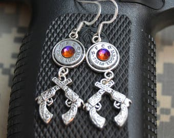 9mm, 40, 45, 38 Special Caliber Silver Bullet Casing Dangle Earrings with Crossing Revolver Pistols