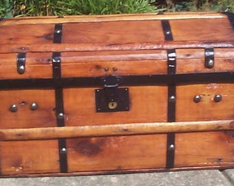 728 Civil War era 1850s 1860s Fully Restored Antique Dome Top Trunk, New Leather Handles,