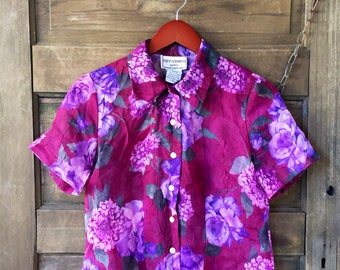Vintage 80's Floral Button Down Crop Top with Cut Out Back by Karin Stevens suze Small/Medium