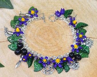 Belladonna Wiccan Charm Bracelet, Witchcraft, Pagan Jewellery, Deadly Nightshade
