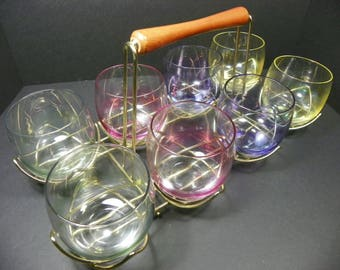 Vintage Colored Roly Poly Tumbler Whiskey Drink Set with Carry Rack  (FREE SHIPPING)
