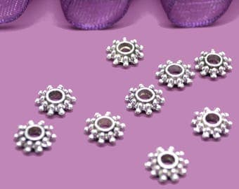 10 stars 09 mm Tibetan silver spacers beads
