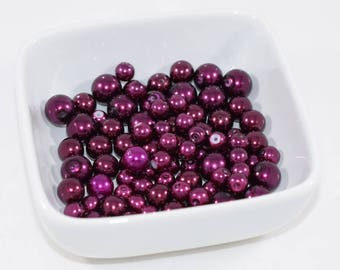 Burgundy Glass Pearls in Three Sizes
