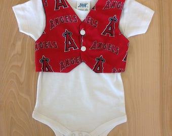 Baby Boy's Tux Vest Onesie- Angels