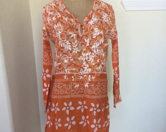 Vintage Block Print Tunic India NOS with Tags Small
