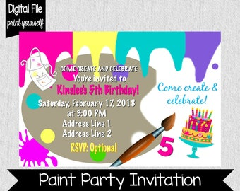 Paint Party Invitation - Paint - Birthday Party Invite - Painting Party - Create & Celebrate - Paint Splatters - Girl's Birthday