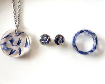 Blue Cornflower Jewelry Set