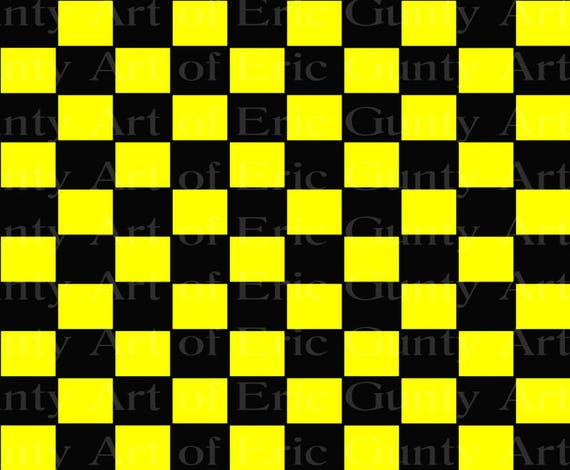 Black & Yellow Checkerboard Birthday - Edible Cake and Cupcake Topper For Birthday's and Parties! - D22745
