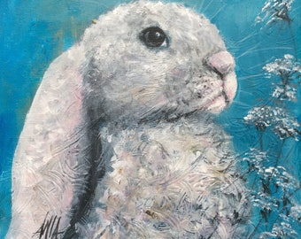 A lovely rabbit with long ears, print square 20x20cm