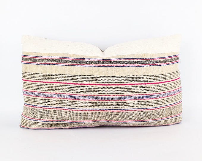 Vintage Hemp Hmong Blue, Black And Pink Stripe Textile And African Mudcloth Lumbar Pillow Cover 12x20