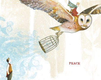 HOLIDAY CARD #336 Owl's Peace-set of 6