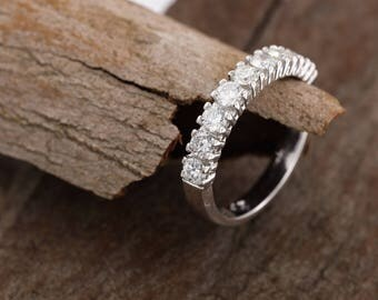 Cluster wedding band-Eternity Wedding Band-Diamond ring-Diamond Band-Anniversary Gift-Half-Eternity Ring-multistone ring-wedding ring