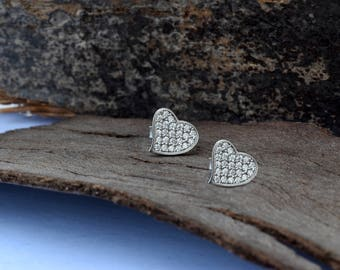 Xmas gift-Holidays gifts-Christmas gifts-Hanukkah gift-Tiny Stud Earrings-White Gold Earrings-Stud Earrings-Women Earrings-Birthday gift