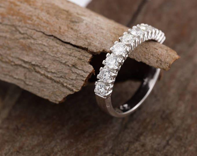Eternity Wedding Band-Diamond Engagement Ring-Diamond Jewelry-Diamond Band-Anniversary Gift-Half-Eternity Ring-multistone ring-wedding ring