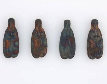 Multicolored Matte Raku Ceramic 3-D Feather Beads